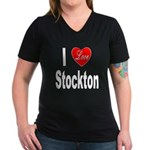 I Love Stockton (Front) Women's V-Neck Dark T-Shir