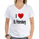 I Love St. Petersburg (Front) Women's V-Neck T-Shi