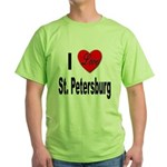 I Love St. Petersburg (Front) Green T-Shirt