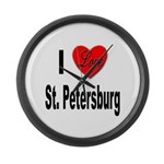 I Love St. Petersburg Large Wall Clock