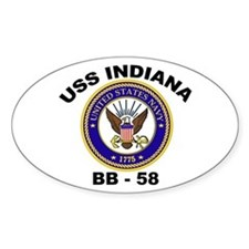 USS Indiana BB 62 Oval Decal