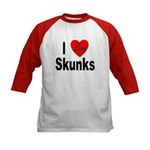 I Love Skunks (Front) Kids Baseball Jersey