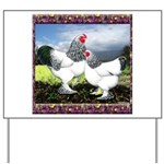 Framed Brahma Chickens Yard Sign