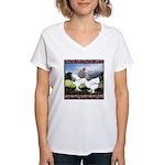 Framed Brahma Chickens Women's V-Neck T-Shirt