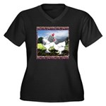 Framed Brahma Chickens Women's Plus Size V-Neck Da