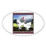 Framed Brahma Chickens Oval Sticker