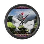 Framed Brahma Chickens Large Wall Clock