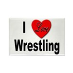 I Love Wrestling Rectangle Magnet (10 pack)