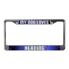 My Dog Loves Herding License Plate Frame (Blue)