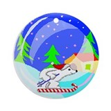 Skiing Bear Ornament (Round)