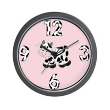 Baby Cow with Pink Background Clock