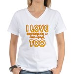 I LOVE WATERMELON AND FRIED C Women's V-Neck T-Shi