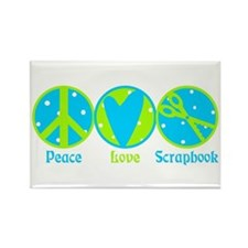 Peace, Love, Scrapbook Rectangle Magnet (100 pack)