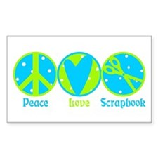 Peace, Love, Scrapbook Rectangle Sticker 10 pk)