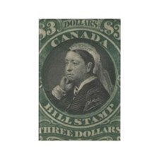 Canada Bill Stamp $3 Rectangle Magnet