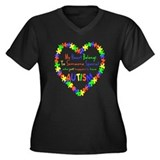 Autism Heart Women's Plus Size V-Neck Dark T-Shirt