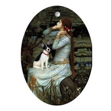 Ophelia and Rat Terrier Oval Ornament