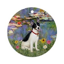 Monet's Lilies and Rat Terrier Ornament (Round)