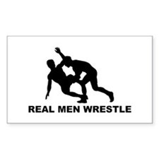 Real Men Wrestle Rectangle Decal