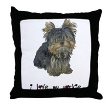 I Love My Yorkie Throw Pillow