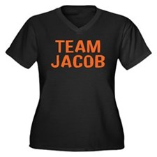 Tean Jacob(Orange) Women's Plus Size V-Neck Dark T