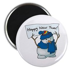 "Happy New Years Snowman 2.25"" Magnet (100 pack)"