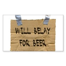 WILL BELAY FOR BEER Rectangle Decal
