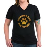Collie Women's V-Neck Dark T-Shirt