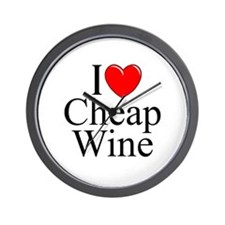 """I Love (Heart) Cheap Wine"" Wall Clock"