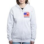 Heart America Flag Women's Zip Hoodie
