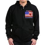 Heart America Flag Zip Hoodie (dark)