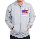 Heart America Flag Zip Hoodie