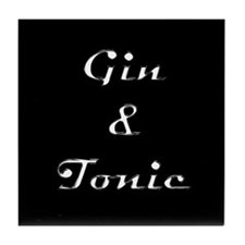 Black & Chrome GIN & TONIC Tile Coaster