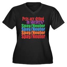 Unique Shelter dogs Women's Plus Size V-Neck Dark T-Shirt