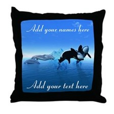 Dolphins and Orca's Throw Pillow
