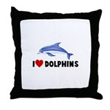 I Heart Dolphins Throw Pillow