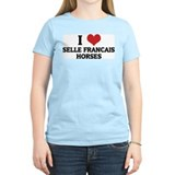 I Love Selle Francais Horses Women's Pink T-Shirt