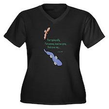Spring-River Women's + Size V-Neck Dark T-Shirt