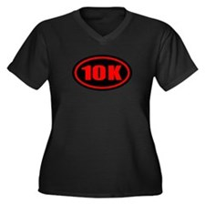 10 K Runner Oval Women's Plus Size V-Neck Dark T-S