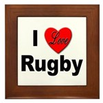 I Love Rugby Framed Tile