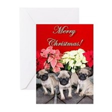 Merry Christmas pug puppies Greeting Cards (Pk of