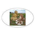 Two Trumpeter Pigeons Oval Sticker (10 pk)