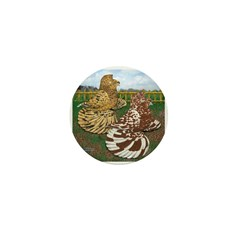 Two Trumpeter Pigeons Mini Button