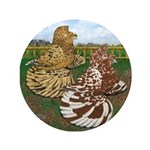 "Two Trumpeter Pigeons 3.5"" Button (100 pack)"