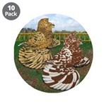 "Two Trumpeter Pigeons 3.5"" Button (10 pack)"