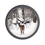 Deer in Winter Wall Clock