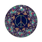 Psychedelic Peace Sign Tree Ornament