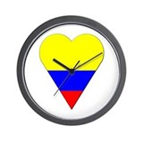 Colombia Heart-Shaped Flag Wall Clock