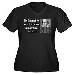 Shakespeare 25 Women's Plus Size V-Neck Dark T-Shi