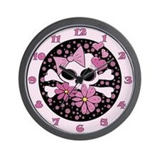 Girly Punk Skull Wall Clock